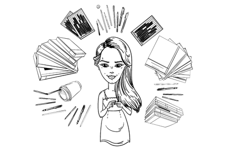 Sketch of a cute girl, around a book, a glass of coffee, textbooks, stationery, pencil case, hand drawn vector illustration.