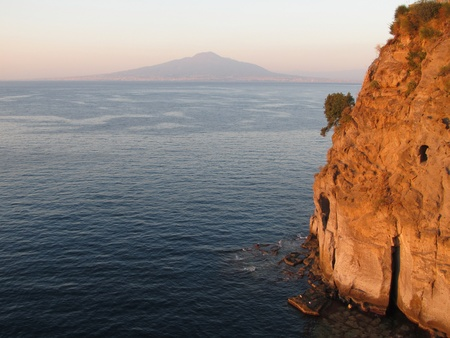 naples: Gulf of Naples with Mount Vesuvius in the distance, shot taken at late afternoon from St Agnello coast, near Sorrento  Stock Photo