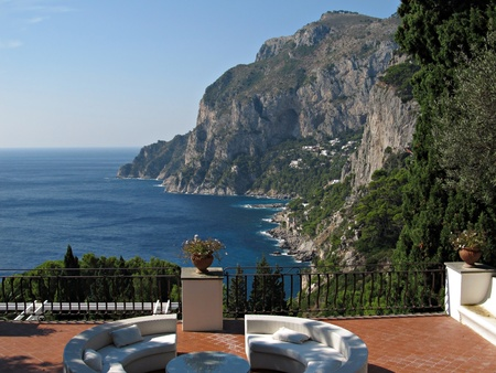 Dreamy view toward the cliffs and Via Krupp from a nice terrace in island Capri  photo