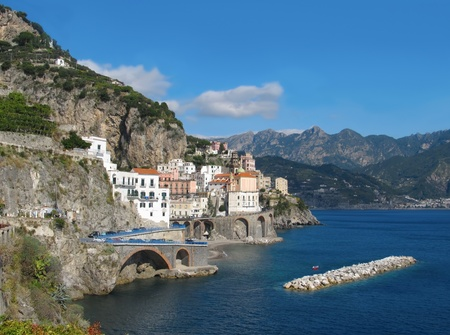 Panoramic view of village Atrani on costiera Amalfina in Sorrento area Stock Photo