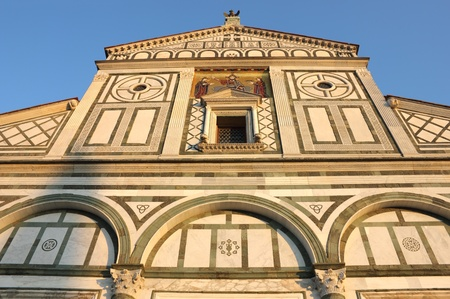 Facade of San Miniato al Monte in Florence, warm sunset light shot. Stock Photo - 13228778