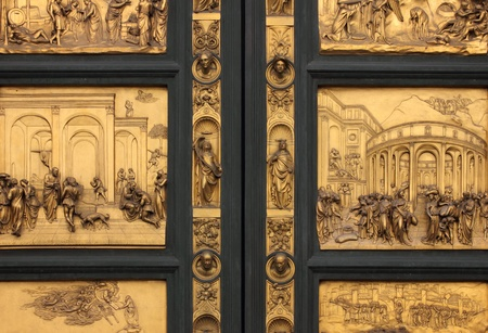Detail of the Doors of Paradise in Battistero di San Giovanni, Florence, Italy.