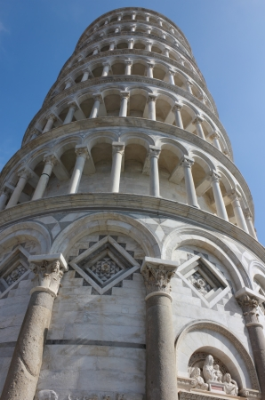 leaning tower of pisa: Famous Leaning Tower in Pisa angle shot on piazza dei Miracoli.