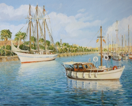 catalonia: Old Yacht harbor of Barcelona  Port Vell  in a bright sunny day, represented on the canvas by me, Kiril Stanchev