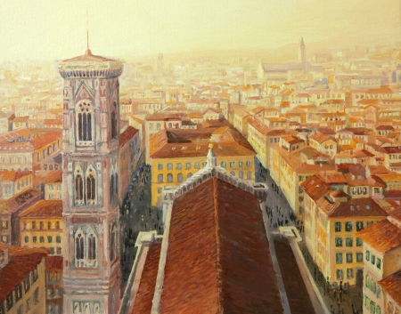 Aerial view of Florence with the Giotto s Bell tower at sunset, painted on the canvas by me - Kiril Stanchev  photo