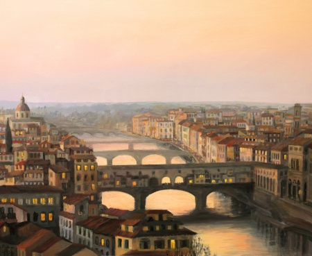 oil painting: Sunset over Florence with the river and ponte vecchio in warm light