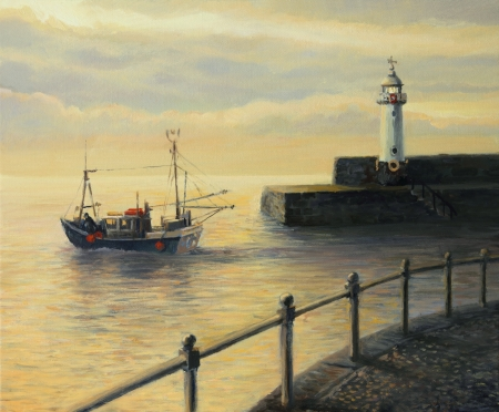 Fishing boat leaving the port in Mevagissey at early morning sunrise, painted on the canvas by me - Kiril Stanchev