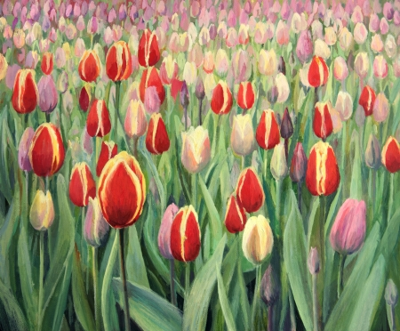 Colorful tulips on display in Keukenhof Gardens, painted on the canvas by me - Kiril Stanchev