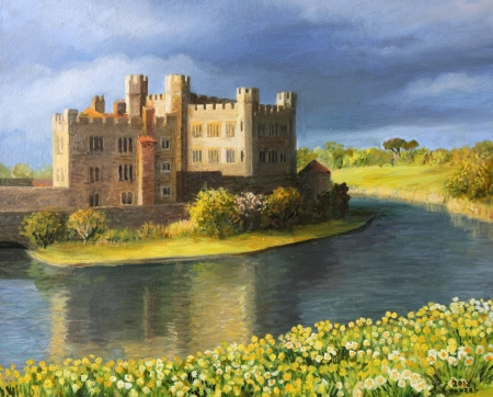 manor: Famous Castle near Leeds in Kent, painted on the canvas by me, Kiril Stanchev  Stock Photo