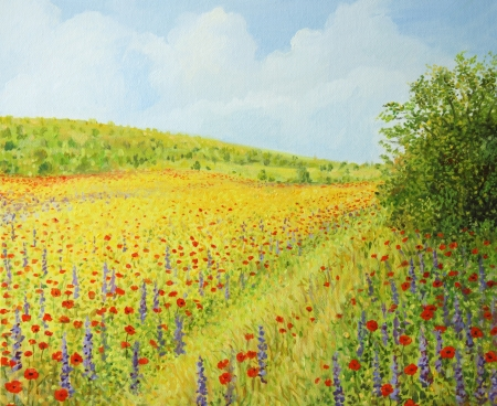 Vibrant field with spring wild flowers in a bright sunny day, painted on the canvas by me - Kiril Stanchev  photo