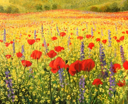 oil painting: A Colorful field with Poppies painted on the canvas by me, Kiril Stanchev  Stock Photo