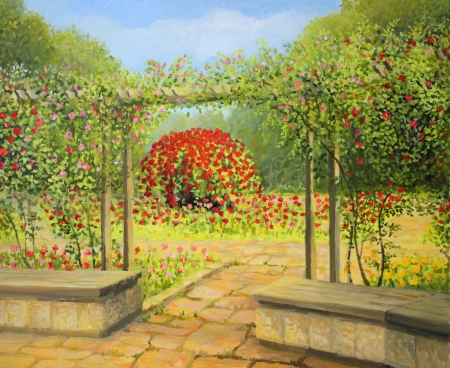 A beautiful rose garden in the park, painted on the canvas by me, Kiril Stanchev  Stok Fotoğraf