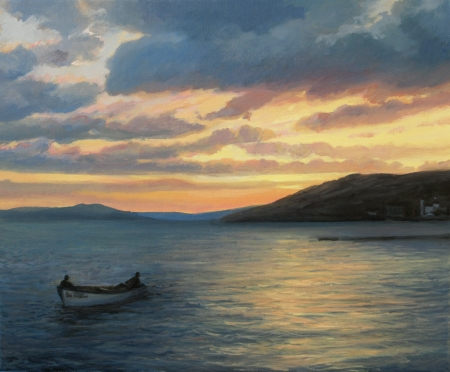 returning: Small Boat returning in the harbor after whole day of fishing, painted on the canvas by me, Kiril Stanchev .