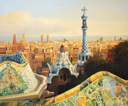 guell: Barcelona, Park Guell terrace at dusk painted on the canvas by me Kiril Stanchev.