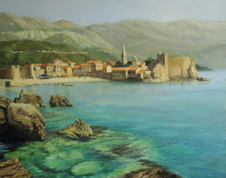 Bay near old Budva on the Montenego Riviera, painted on canvas by me, Kiril Stanchev. photo