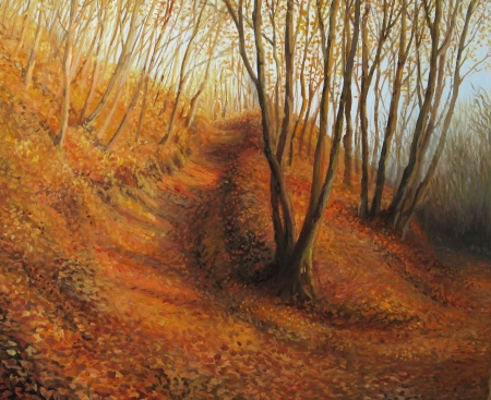 street painting: Silent Autumn Afternoon in a colorful forest, painted on canvas by me - Kiril Stanchev.
