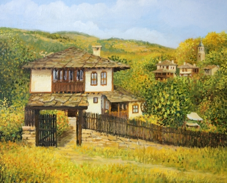 Rural colorful autumn landscape in village Bojenci in the Balkan mountains, painted on the canvas by me, Kiril Stanchev . photo