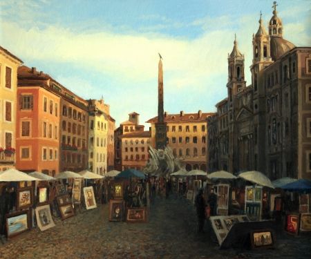 navona: One of my favorite places in Rome, Piazza Navona in a late June afternoon, painted on the canvas by me, Kiril Stanchev .