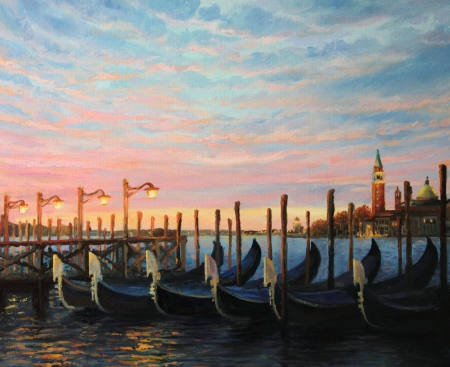 Breathtaking colorful sunrise in Venice with gondolas, painted on the canvas by me, Kiril Stanchev . Stok Fotoğraf