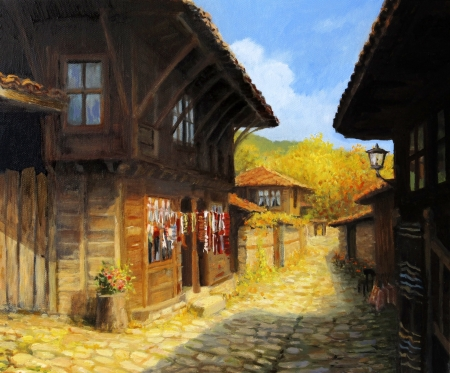 Old houses in village Zheravna in a bright sunny autumn day, painted on the canvas by me, Kiril Stanchev .