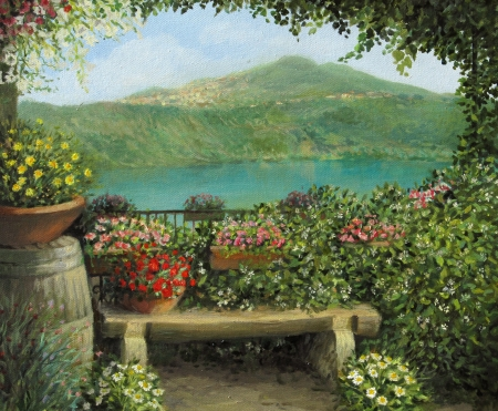 oil painting: View toward the lake in Castel Gandolfo, framed with flowers. Painted on the canvas by me, Kiril Stanchev