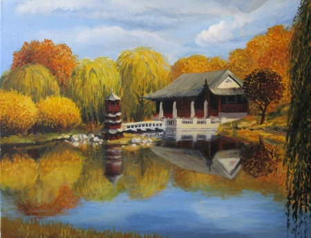 painting nature: Chinese garden in Berlin with a tea house on the shore of a lake, painted on the canvas by me, Kiril Stanchev Stock Photo