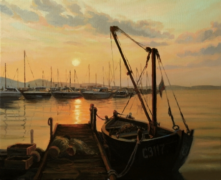 rowboat: Romantic sunset with a fishing boat tied to the pier, painted on canvas by me, Kiril Stanchev Stock Photo