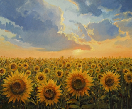 a sunflower: Sunflower field in the light of the sunset represented on the canvas by me - Kiril Stanchev kirilart. Stock Photo