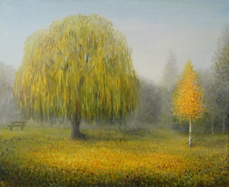 weeping willow: An autumn misty morning in a London park, painted on canvas by me, Kiril Stanchev  Stock Photo