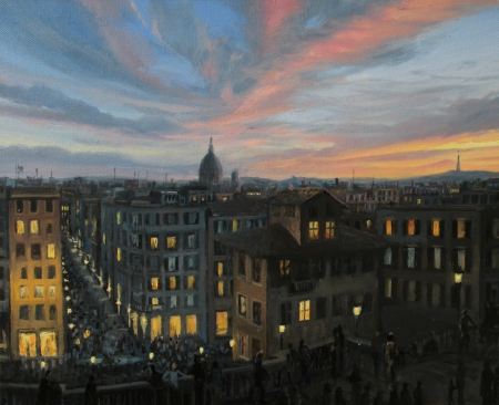 spanish steps: Sunset view of Rome from the top of the Spanish steps, painted on canvas by me, Kiril Stanchev