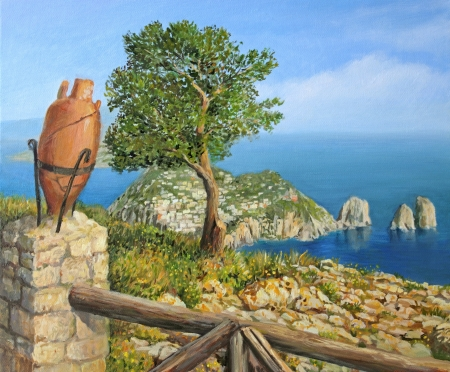 körfez: Monte Solaro - adada Capri en yüksek noktadan gör. Nefes kesen manzarası bana göre tuval Kiril Stançev boyalı. Stok Fotoğraf