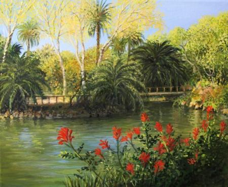 red palm oil: Parc de la Ciutadella a Barcellona ha rappresentato sulla tela in colori vivaci da me, Kiril Stanchev Archivio Fotografico