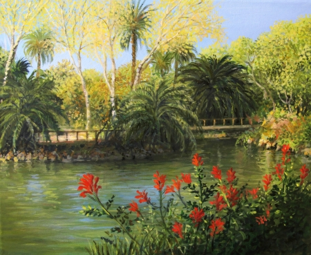 oil park: Parc de la Ciutadella in Barcelona represented on the canvas in vibrant colors by me, Kiril Stanchev