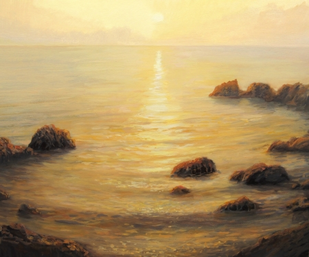Colorful golden sunrise with sunpath on the sea surface, painted on the canvas by me - Kiril Stanchev. photo