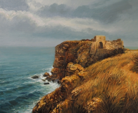 Cape Kaliakra in a storm, with heavy overhanging clouds and strong winds, painted on canvas by me, Kiril Stanchev photo