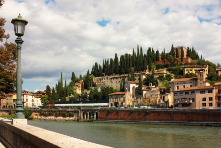 pietro: Panoramic view toward Castel San Pietro from the bank of the river Adige in Verona, Italy.