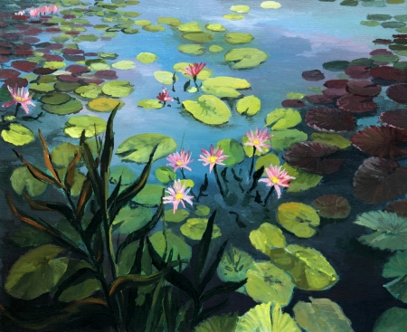 landscape painting: Colorful pond with beautiful lotus flowers and the sky reflection on the water surface, painted on the canvas by me, Kiril Stanchev .