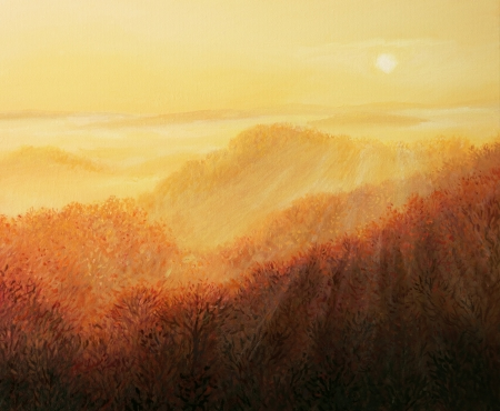 Early morning sunrise with the sun beams caressing the slopes of the mountain, painted on the canvas by me, Kiril Stanchev . photo