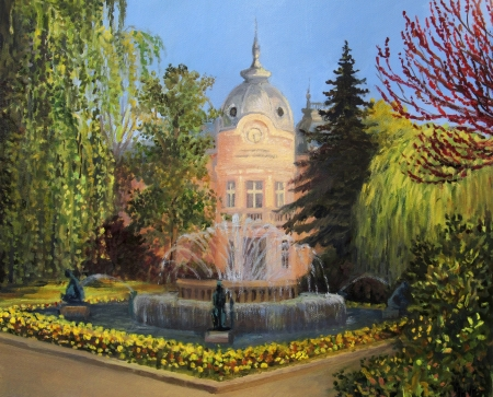 garden fountain: The building of library