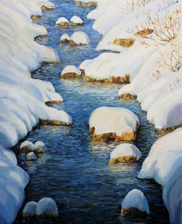 high up: An oil painting on canvas of a lovely winter river with colorful reflections high up in the mountains