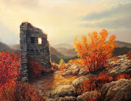 fine art painting: An oil painting on canvas of an old fortress ruins on a mountiain top Stock Photo