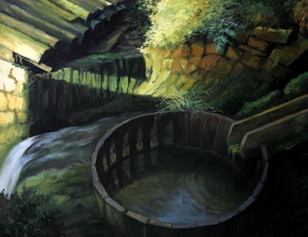 watermill: An oil painting on canvas of a bright sun patch caressing the landscape and the old water mill.