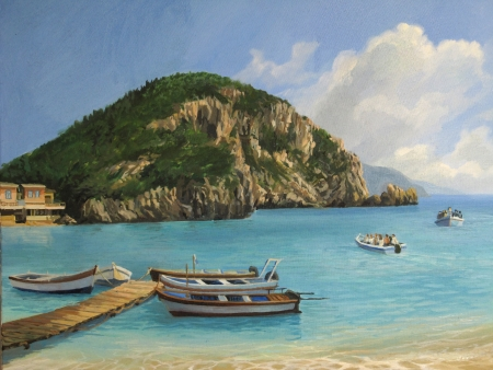 quay: A Tourist Boats in the bay of Paleokastritsa on island of Corfu, painted on canvas by me, Kiril Stanchev .