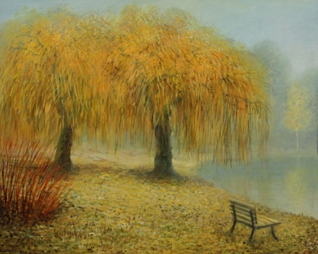 willows: Couple of weeping willows in love, surviving many years together, painted on canvas by me, Kiril Stanchev .