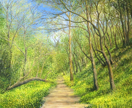 An oil painting on canvas of a vivid forest in spring time with a footpath surrounded by a carpet of yellow wild flowers in a bright sunny day. photo