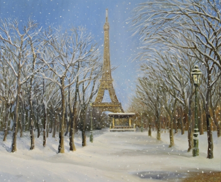 fine art painting: Christmas Winter scene in Paris with the Eiffel Tower at the background, painted on the canvas by me, Kiril Stanchev .