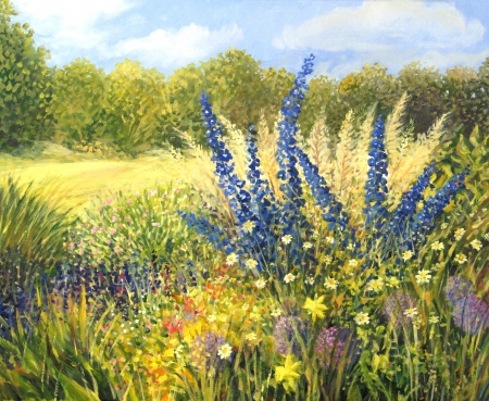 painting nature: Vibrant wild flowers with beautiful blue Delphiniums, in a bright sunny day, painted on the canvas by me, Kiril Stanchev . Stock Photo