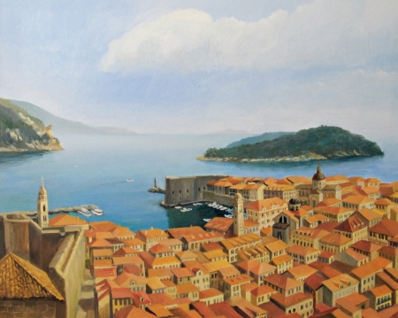 croatia dubrovnik: View from The city wall toward the old town of Dubrovnik, painted on the canvas by me, Kiril Stanchev .