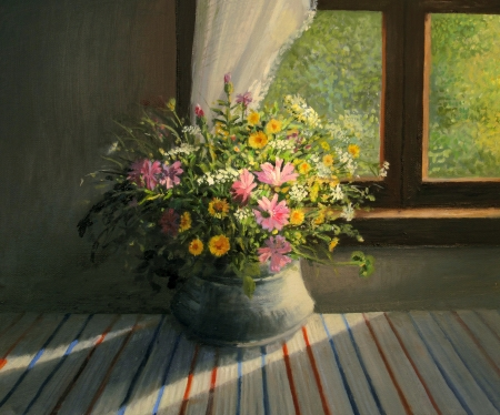 pied: A bouquet of wild field flowers, caressed by a sunbeam trough the window warming the interior of the room, still life painted on canvas by me, Kiril Stanchev . Stock Photo