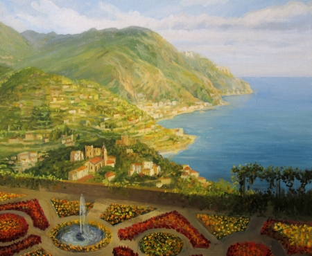 overlooking: Walk in Villa Rufolo gardens in Ravello is offering a breathtaking view of Amalfi coast in Italy, scenics painted on canvas by me, Kiril Stanchev .